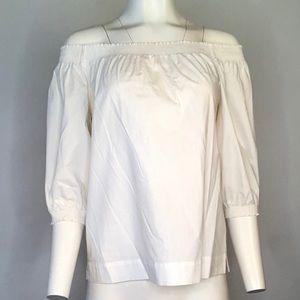 Off the Shoulder White Cotton Blouse